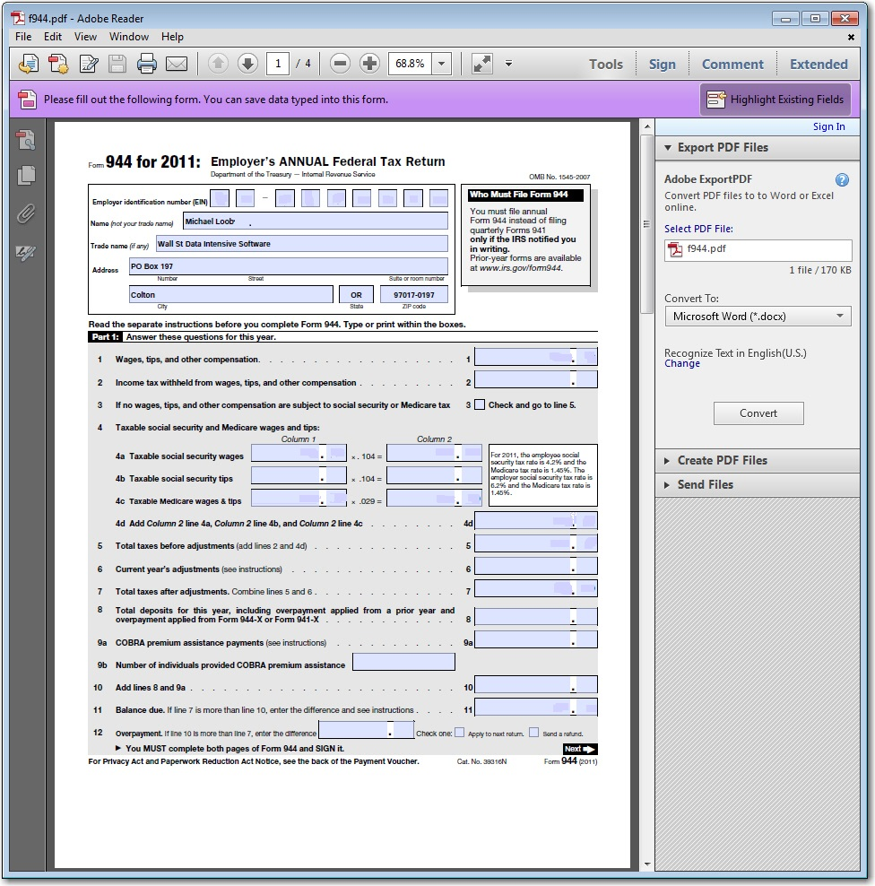 Interactive PDF Form Creator and Automation - Data Intensive
